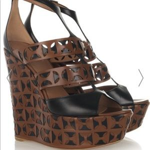 Alaia Laser Cut Leather Wedge Sandals 39.5